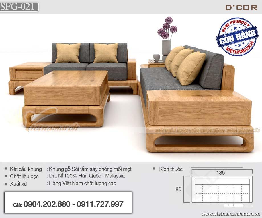 Combo mẫu ghế sofa đẹp kèm bàn trà hiện đại có ngăn kéo được ưa chuộng nhất - SFG21