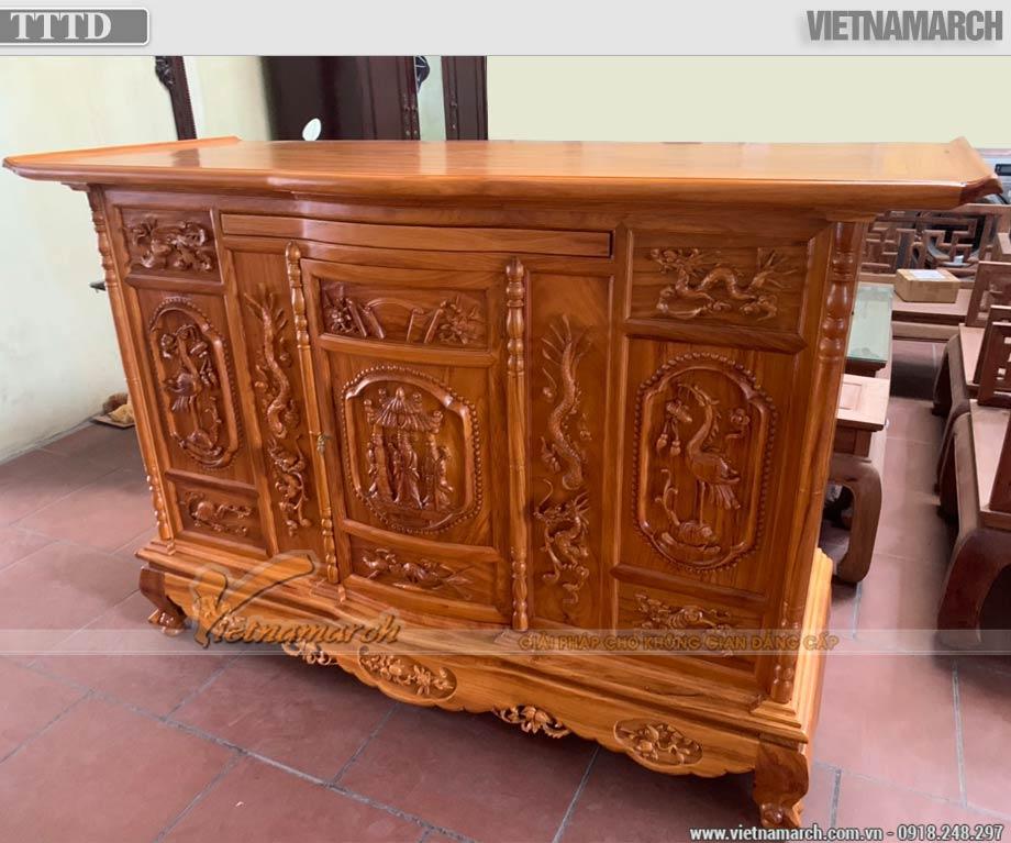 Tủ thờ tam đa Phúc - Lộc - Thọ gỗ gõ