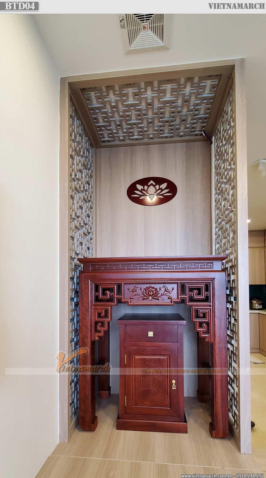 Mẫu bàn thờ đứng gỗ hương đá hiện đại