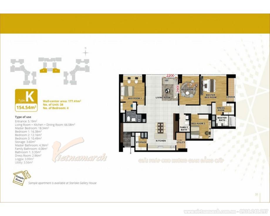 Thiết kế nội thất căn hộ 3 phòng ngủ chung cư Starlake Tây Hồ