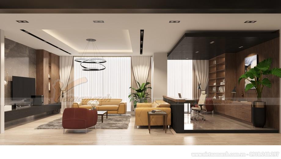 Thiết kế phòng khách căn hộ chung cư 3 phòng ngủ Starlake Tây Hồ