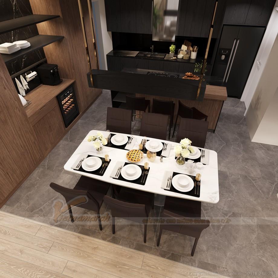 Thiết kế phòng bếp ăn căn hộ chung cư 3 phòng ngủ Starlake Tây Hồ