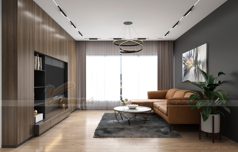 Nội thất phòng khách căn hộ điển hình A 2 phòng ngủ Starlake Tây Hồ