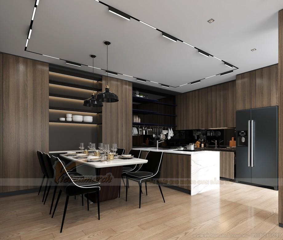 Thiết kế khu vực bếp ăn căn hộ chung cư 2 phòng ngủ Starlake Tây Hồ