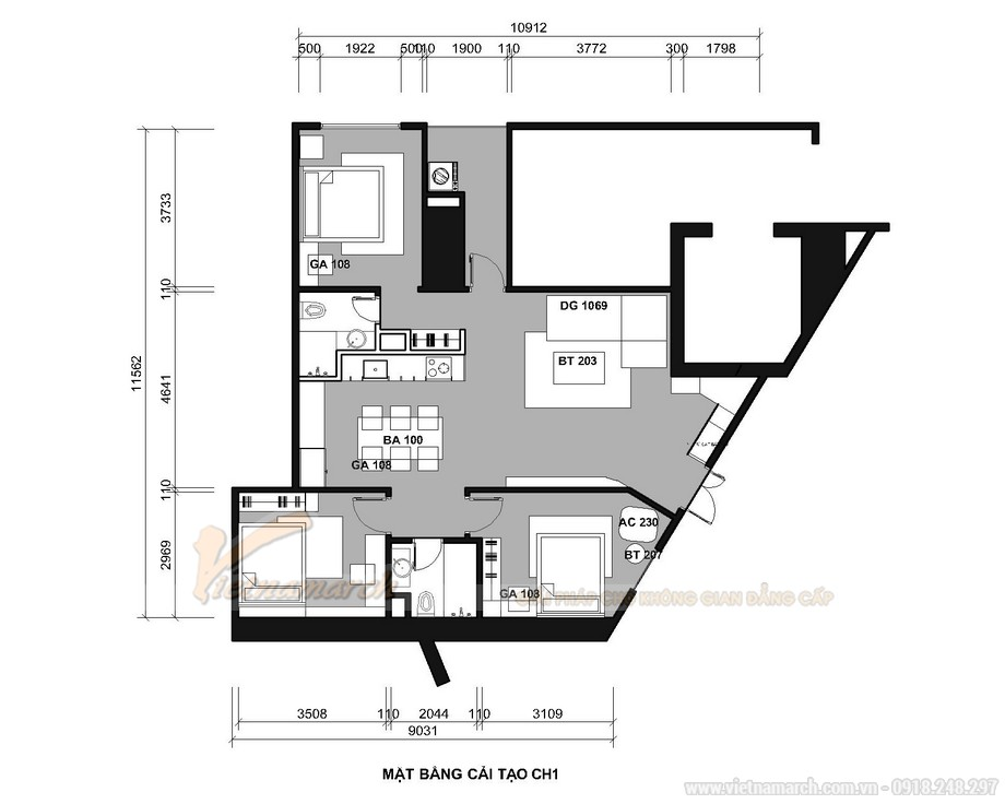 Phương án thiết kế căn hộ chéo vát Tháp doanh nhân – Hà Đông
