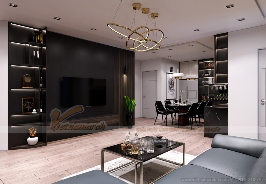 Thiết kế nội thất phòng khách chung cư chéo vát