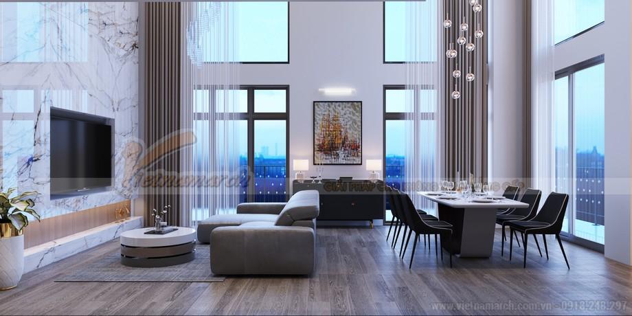 Thiết kế nội thất phòng khách căn hộ Duplex Five Star Hồ Tây