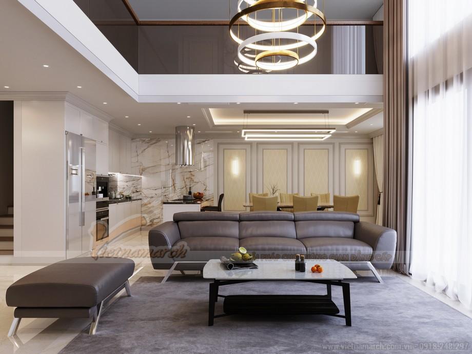 Thiết kế nội thất phòng khách căn hộ Five Star West Lake