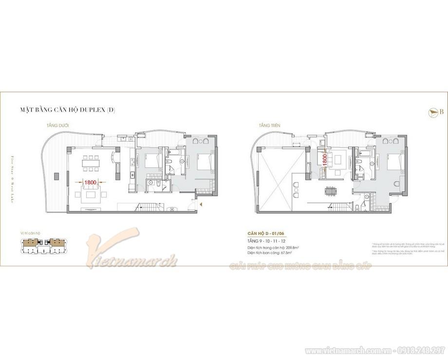 Phương án thiết kế nội thất căn hộ Duplex Five Star West Lake