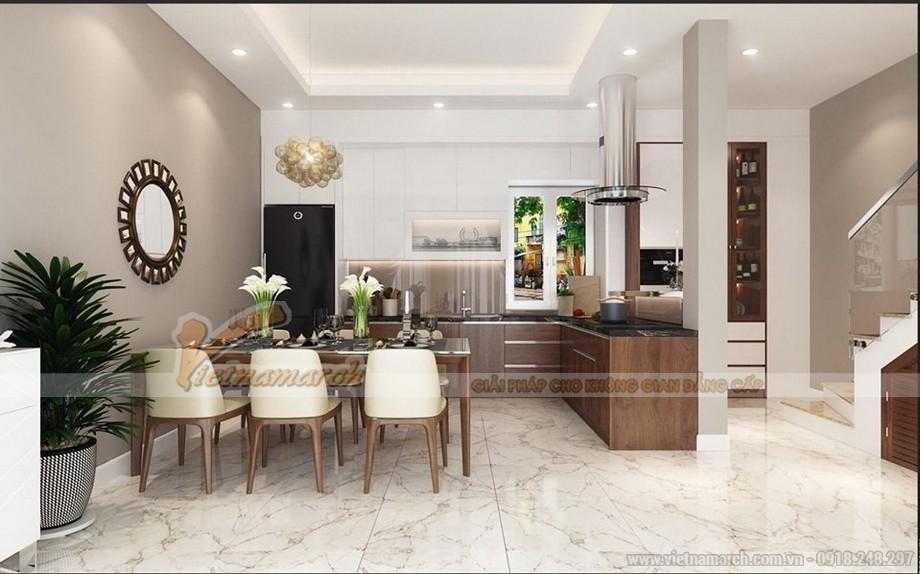 Trần thạch cao giật 2 cấp phòng bếp nhà phố