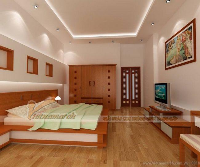 Trần thạch cao giật 2 cấp phòng ngủ nhà phố