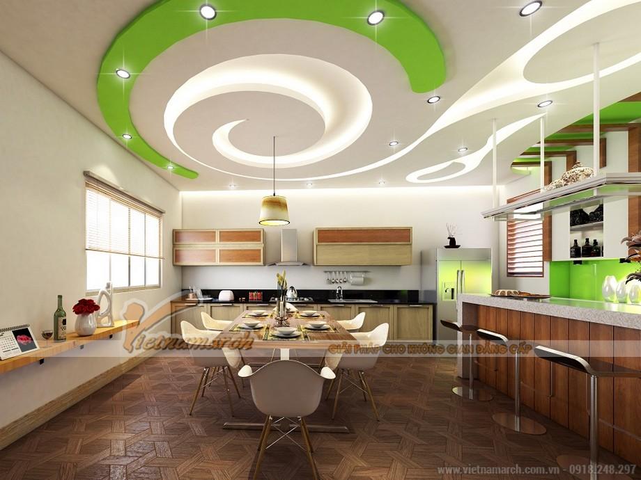 Trần thạch cao lượn sóng phòng bếp