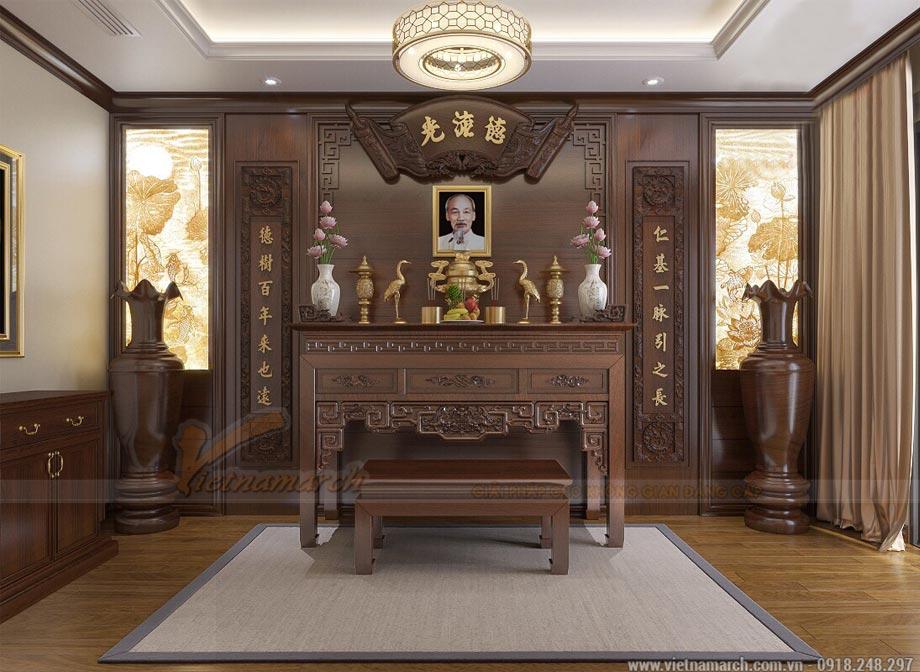 Mẫu bàn thờ Bác Hồ kiểu dáng hiện đại