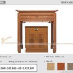 [Hàng sẵn] Bàn thờ đứng gỗ gõ màu cánh gián kích thước 89x48x127cm  – Mẫu BTD06