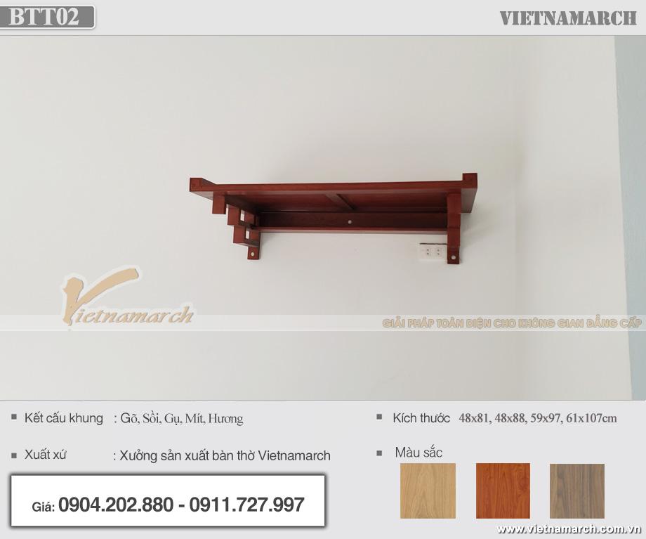 Bàn thờ treo tường hiện đại tại Hưng Yên mẫu BTT02