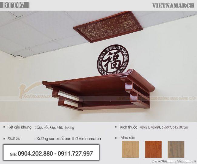 Bàn thờ treo tường thờ Phật và gia tiên bằng gỗ mít – Mẫu BTT07