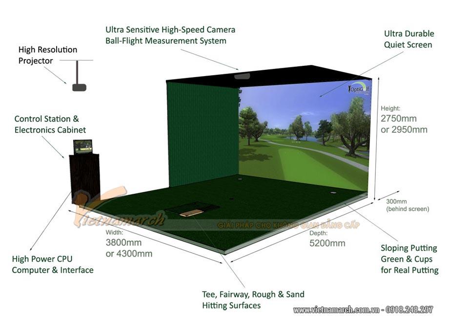 Kích thước phòng golf 3D