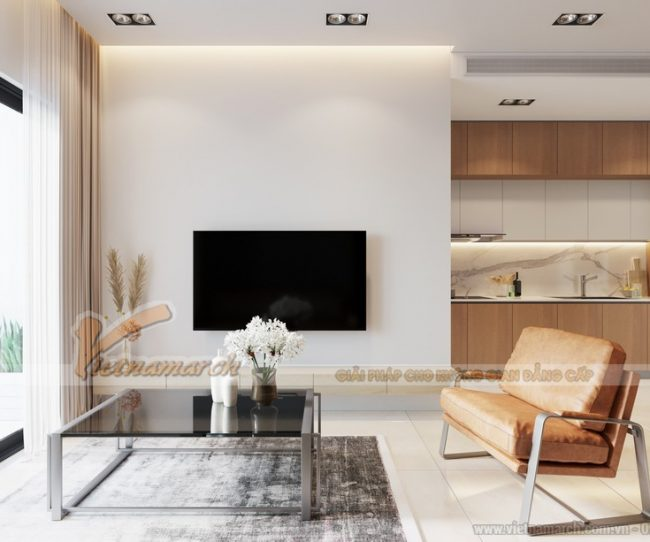 Thiết kế nội thất phòng khách chung cư Anland Premium