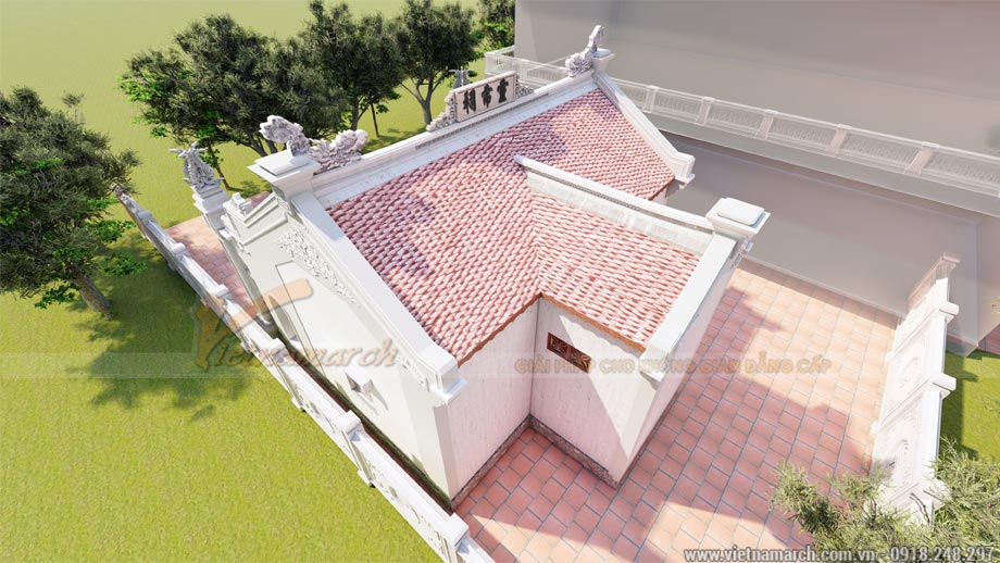 Thiết kế nhà thờ họ bê tông giả gỗ có hậu cung tại Thái Bình