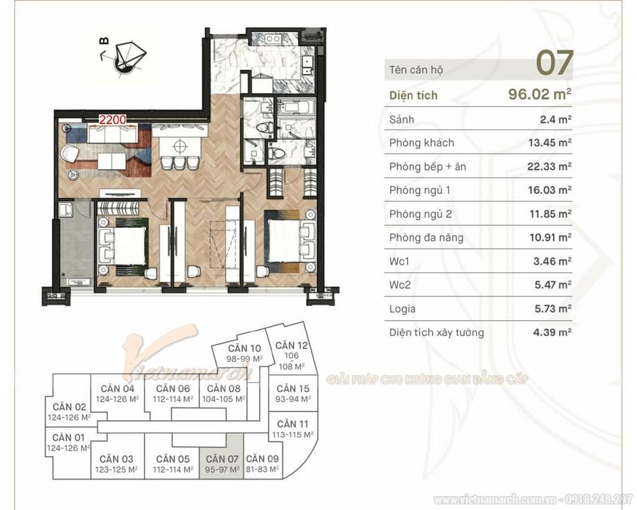 Thiết kế nội thất chung cư King Palace 96m2 - 2 phòng ngủ đẹp hiện đại