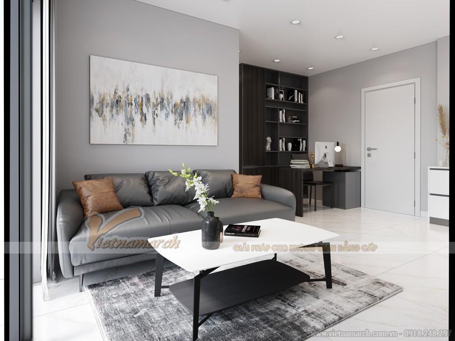 Thiết kế không gian phòng khách căn hộ chung cư Anland Premium 68m2