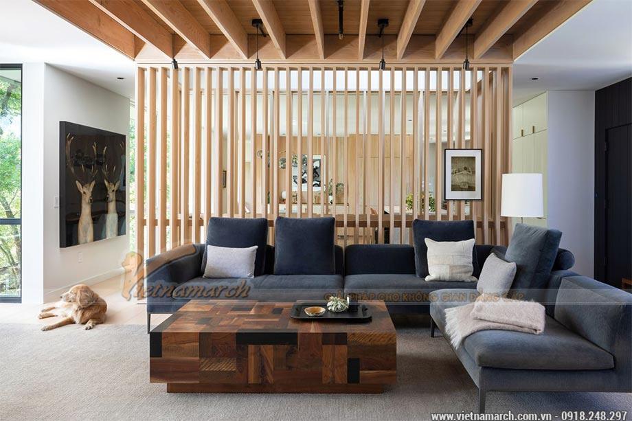 Vách ngăn phòng khách bằng gỗ công nghiệp (CNC)