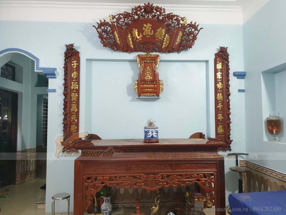 Mẫu bàn thờ Ngũ phúc gỗ Gụ trang trí cuốn thư câu đối tại Hoàng Mai – Hà Nội