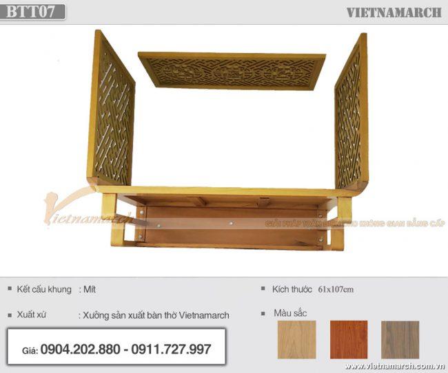 Bàn thờ treo tường gỗ mít 61x107cm