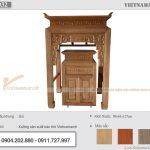 Mẫu bàn thờ đứng cho chung cư nhỏ màu trần sồi hiện đại – BTD32