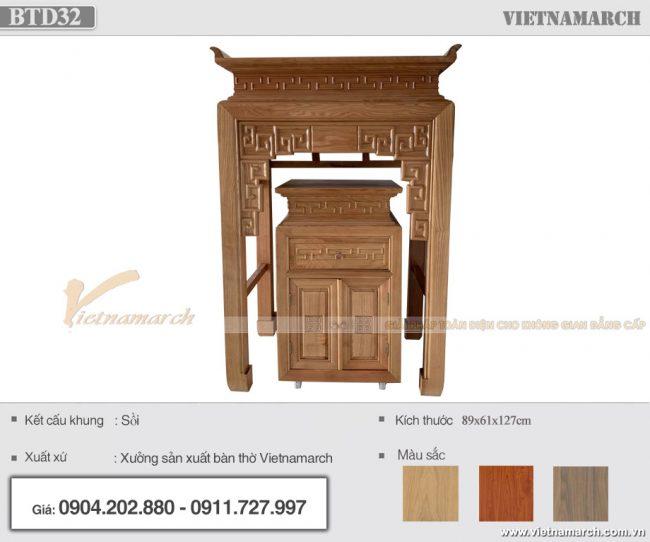 Mẫu bàn thờ đứng cho chung cư nhỏ màu trần sồi hiện đại - BTD32