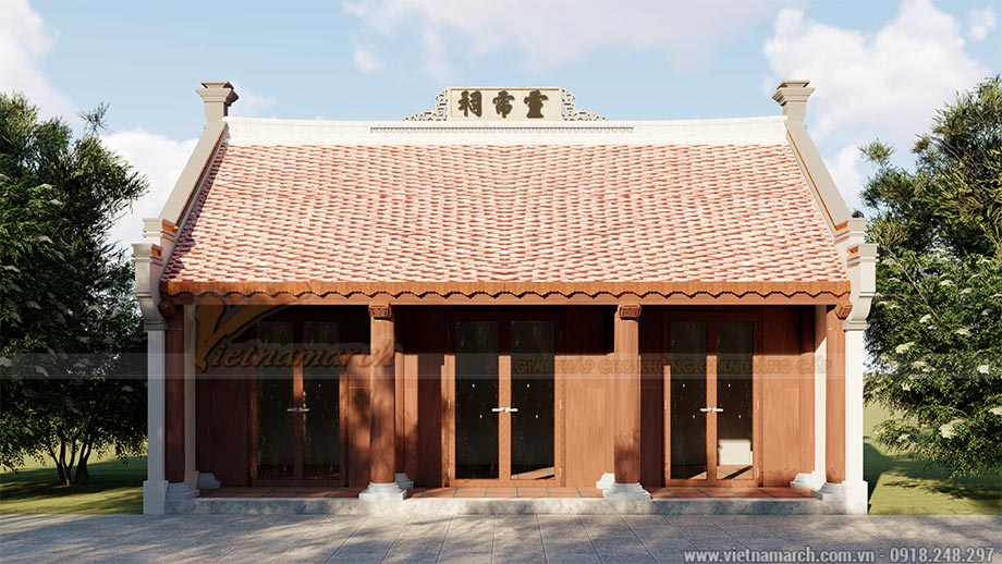 Thiết kế nhà thờ họ 3 gian 2 mái 40m2 tại Vũng Tàu