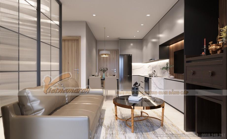Thiết kế nội thất phòng khách liên thông với phòng ăn và bếp