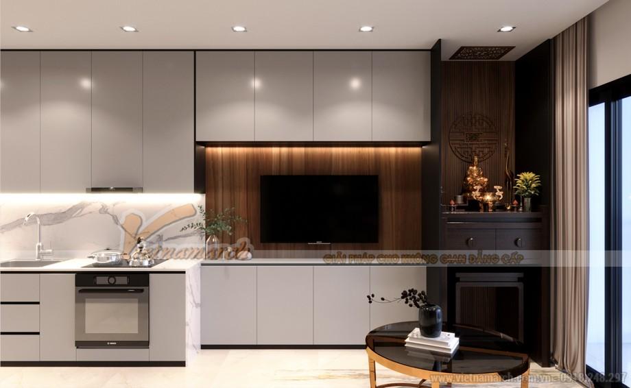 Thiết kế nội thất phòng khách và bếp liên thông