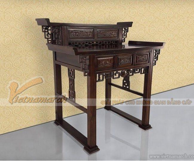 Mẫu bàn thờ 2 tầng được làm từ chất liệu gỗ cao cấp