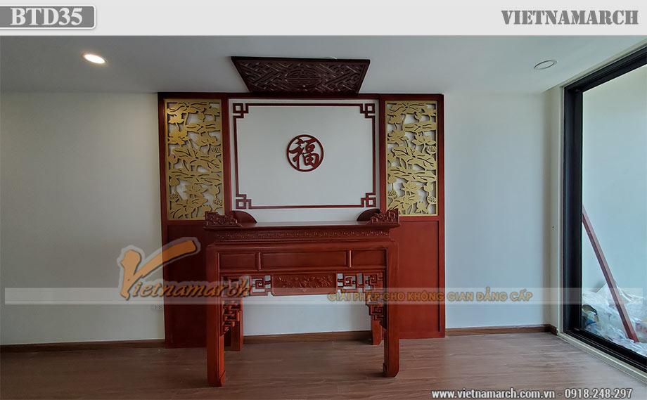 Bàn thờ 1m53 gỗ mít triện sen kèm vách lắp đặt tại chung cư Eco Dream Nguyễn Xiển - BTD35