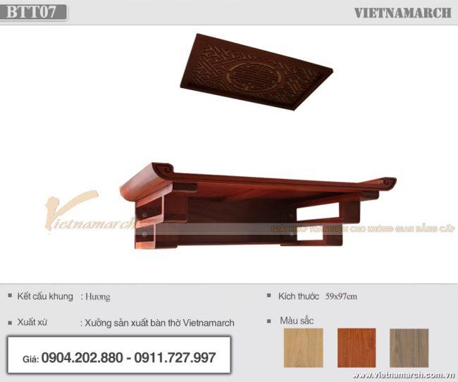 Bàn thờ treo gỗ hương 59x97cm cho chung cư IEC Thanh Trì