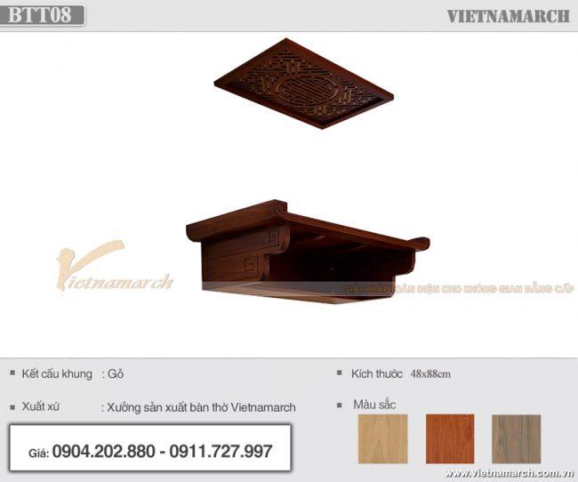 Bàn thờ treo tường gỗ gõ hiện đại