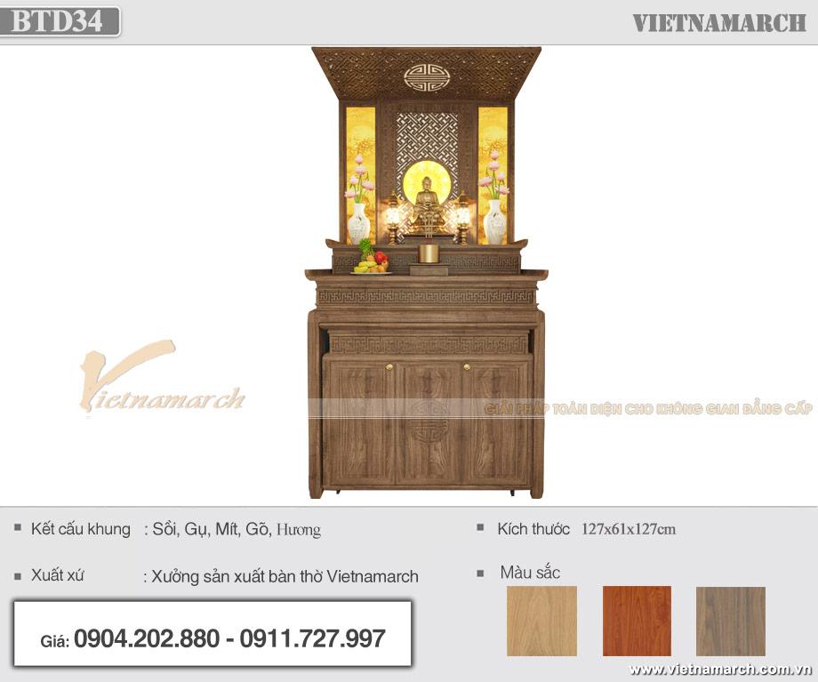 Mẫu bàn thờ Phật chung với gia tiên