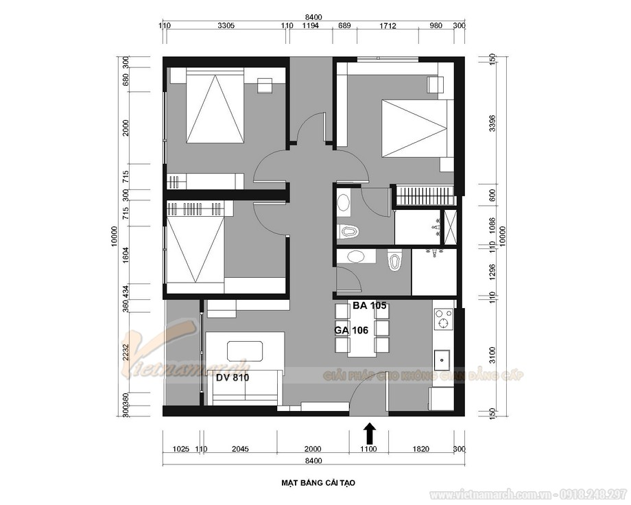 Thiết kế căn hộ 3 phòng ngủ Vinhomes Ocean Park Gia Lâm