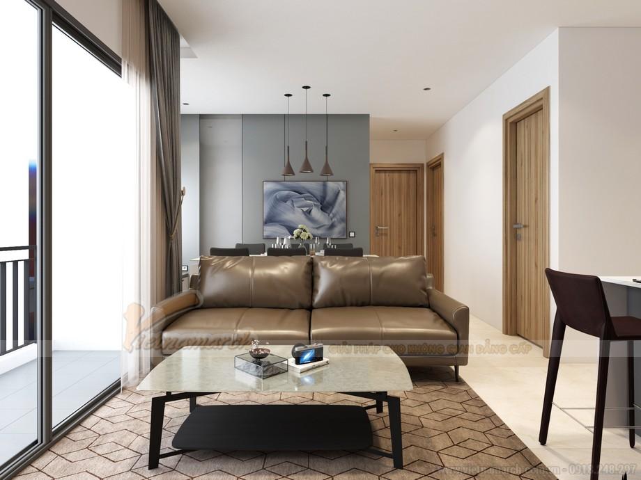 Phối cảnh nội thất phòng khách chung cư Vinhomes Ocean Park