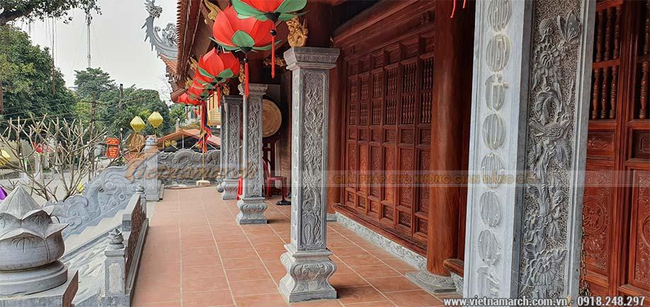 Thi công từ đường 3 gian bê tông giả gỗ tại Thái Bình