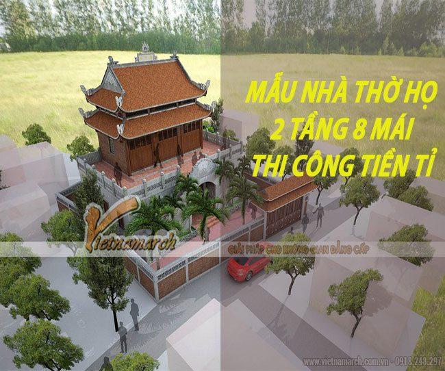 thiêt kế nhà thờ họ 2 tầng mái
