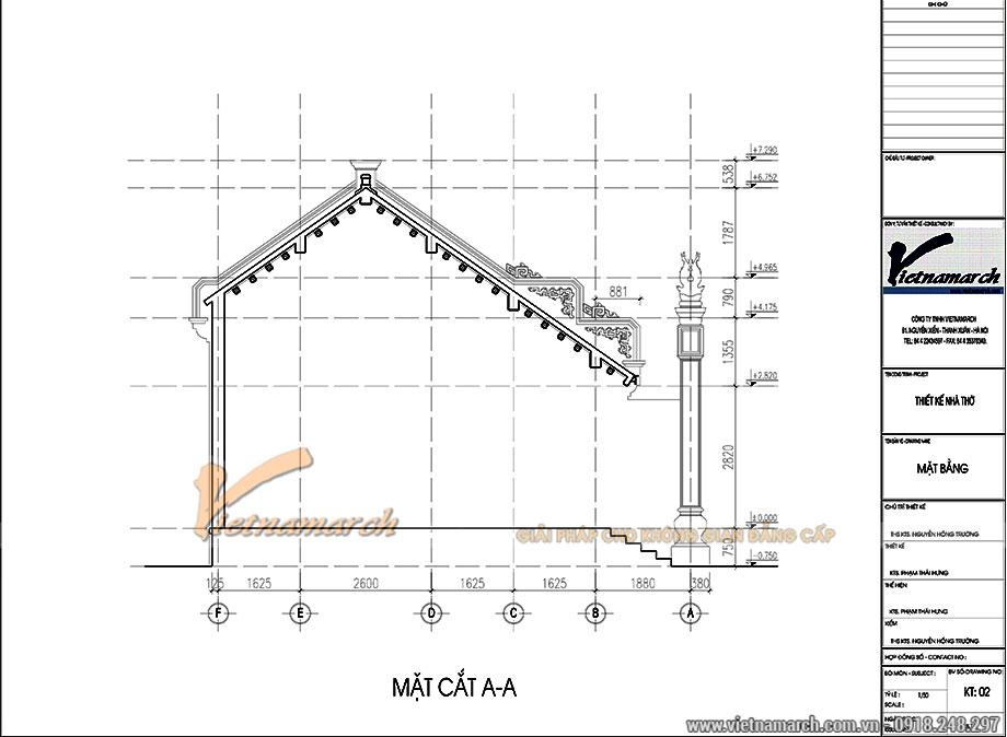 Thiết kế nhà ở kết hợp nhà thờ 3 gian 2 mái