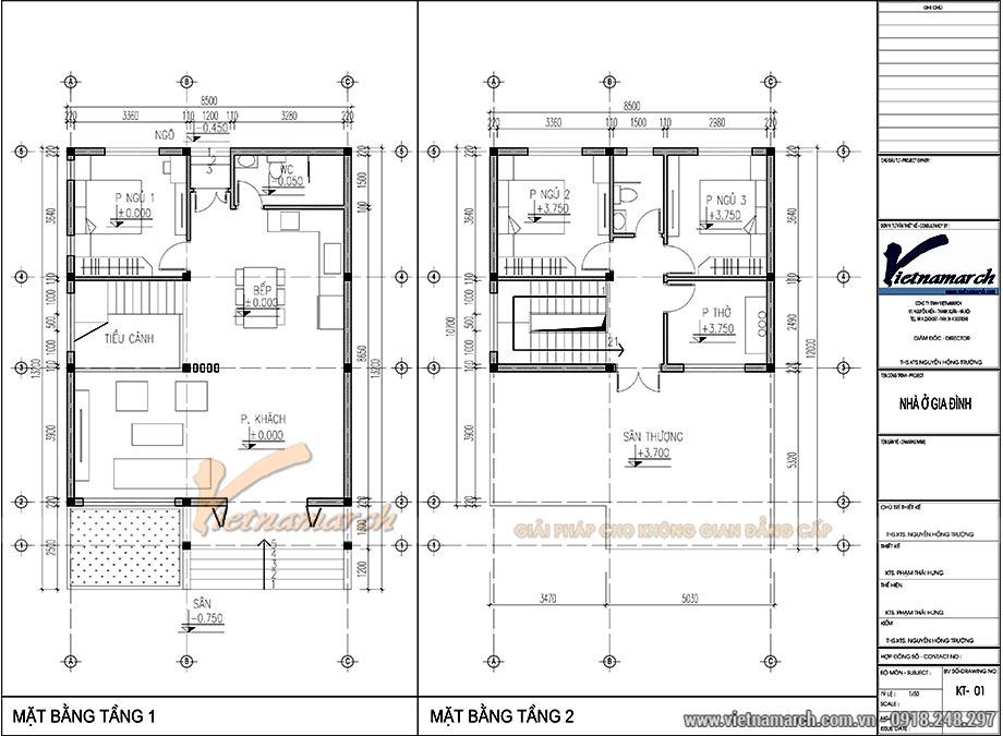 Bản vẽ thiết kế nhà ống 2 tầng 3 phòng ngủ 1 phòng thờ
