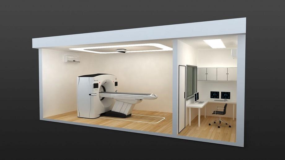 phòng khám container được bố trí đầy đủ hệ thống máy móc khám chữa bệnh cho bệnh nhân