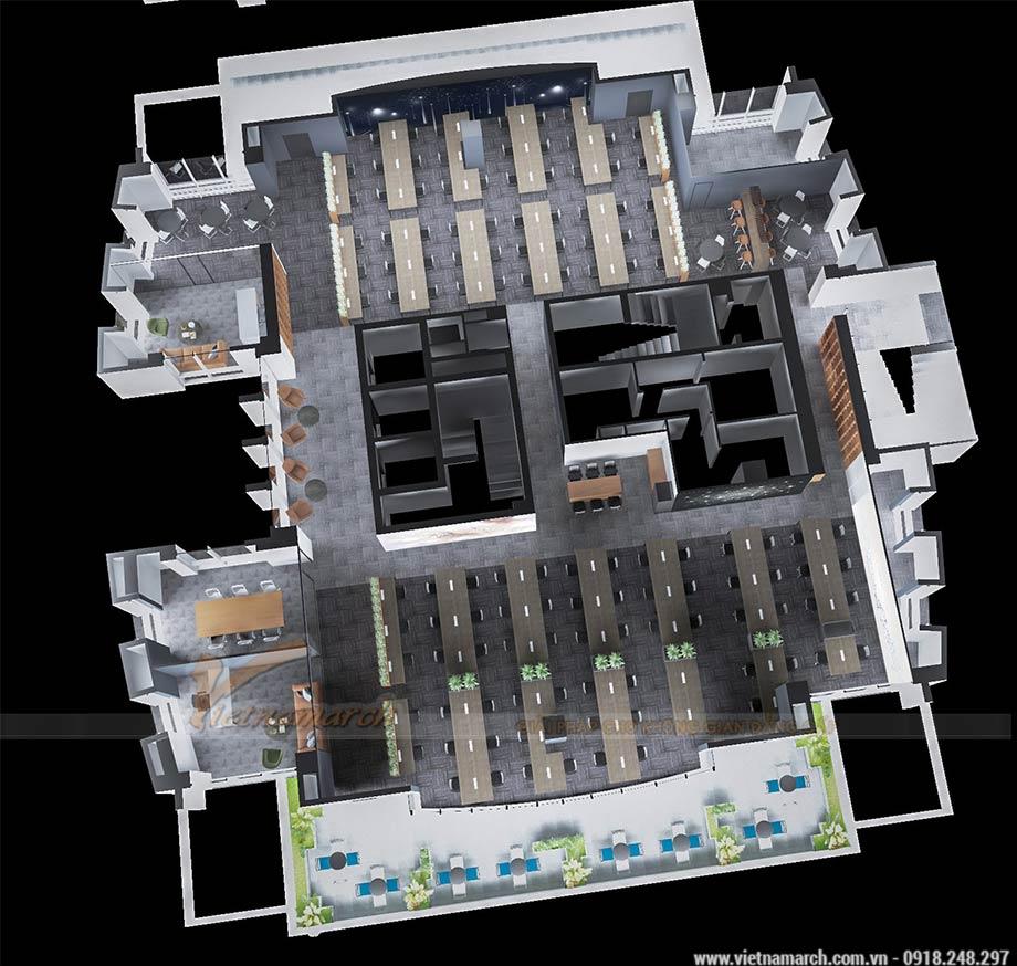 Dự án thiết kế văn phòng làm việc 2 tầng 950m2 cho tập đoàn Viettel tại Cầu Giấy