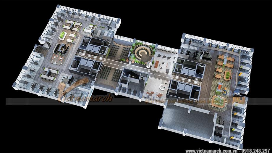 Mặt bằng thiết kế văn phòng 2100m2 tại Định Công