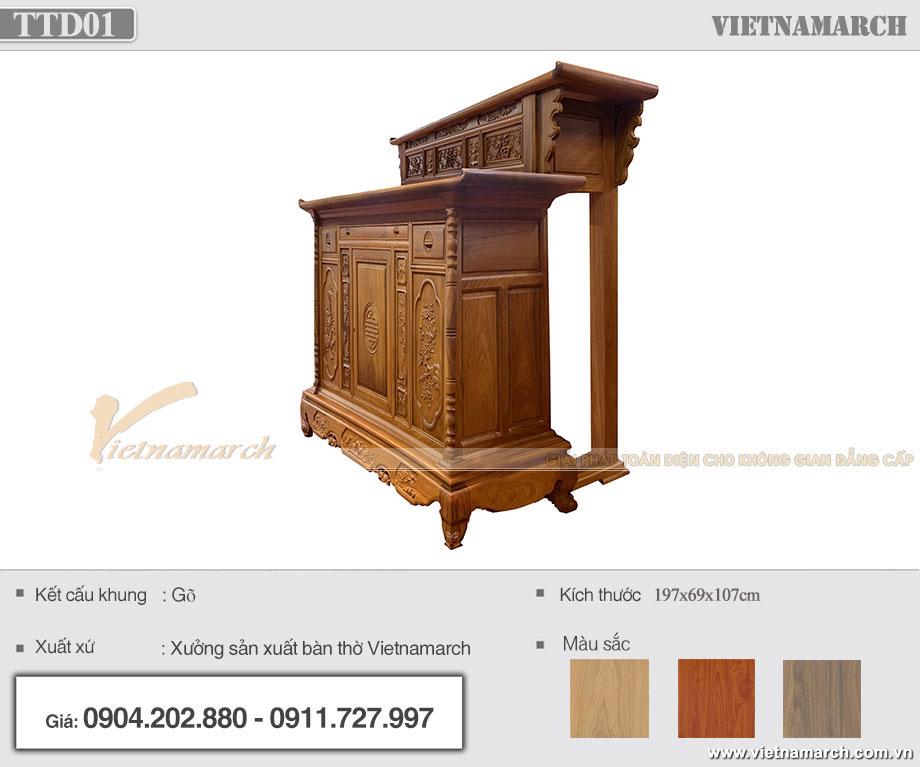 Tủ thờ hai tầng bằng gỗ gõ cho chủ nhà mệnh Thổ