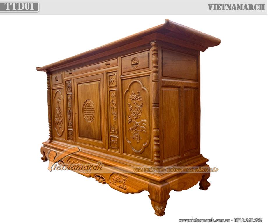 Mẫu tủ thờ 2 tầng gỗ gõ đẹp