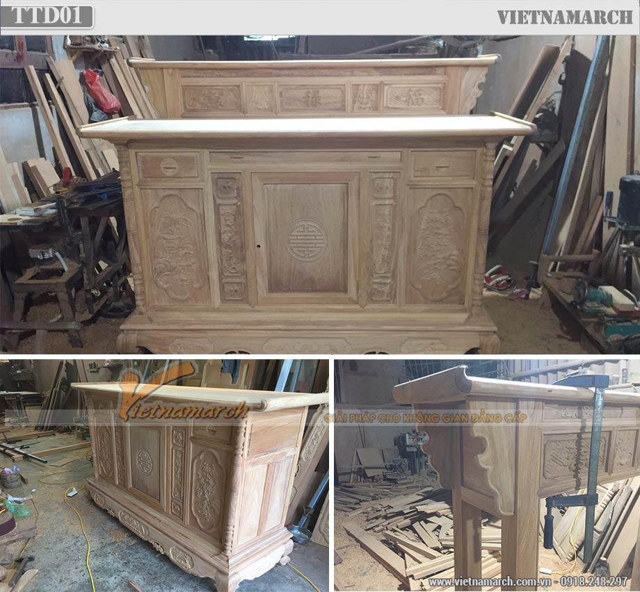 Sản xuất tủ thờ 2 tầng đẹp gỗ gõ cho Nhà lô, nhà ống, nhà phố giá tại xưởng